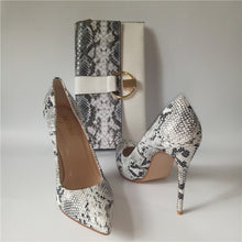 Load image into Gallery viewer, High Heel  Snake Printed Leather  shoes pumps With Matching Clutch Bags - Thj Fashion Boutique