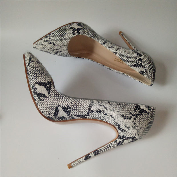 High Heel  Snake Printed Leather  shoes pumps With Matching Clutch Bags - Thj Fashion Boutique