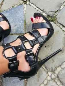 Open Toe Metal Buckle Decorated Stiletto Heel Gladiator Sandals Army Green Black High Heel