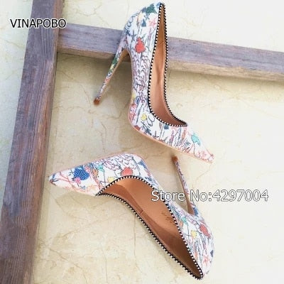 White Graffiti Multi-color Women Pumps Pointed toe Sexy High Heels - Thj Fashion Boutique