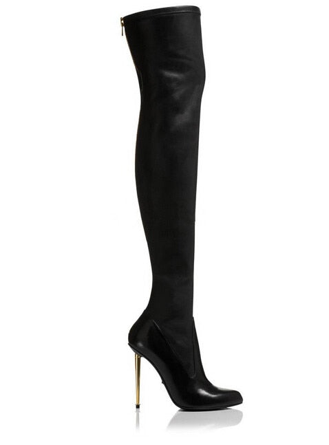 Leather / Suede Sexy Women Over the Knee Boots Metallic Thin High Heels Back Zipper Black Botas