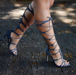 Woman Grey Suede Leather Cut-outs Lace Up T-bar Strap Buckle  High Heels