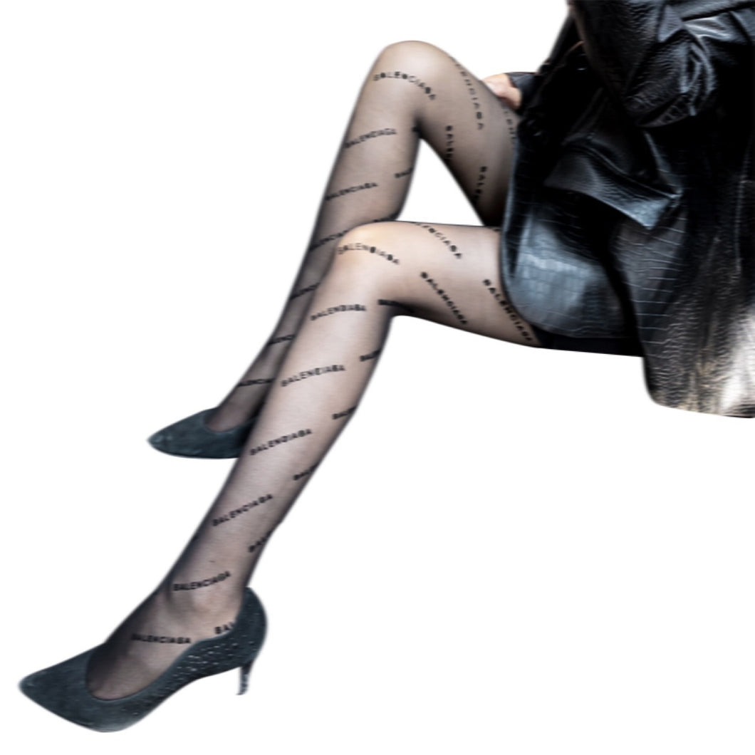 Women Black Printed  Pantyhose