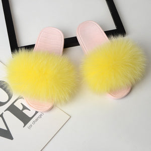 Real Fur Flip Flops Fluffy Sliders Plush Furry Summer Flats Sweet - Thj Fashion Boutique