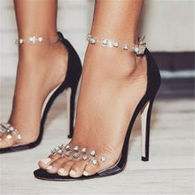 Load image into Gallery viewer, High Heel Rhinestone Stiletto Peep Toe Buckle Strap heels - Thj Fashion Boutique