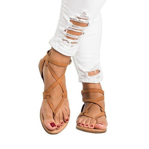 Gladiator Sandals For Women Summer Shoes Female Beach Flat Sandals - Thj Fashion Boutique