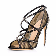 Load image into Gallery viewer, Sliver Spikes Fishnet Extreme High  Strappy Pumps Black Mesh  Peep  Stilettos - Thj Fashion Boutique