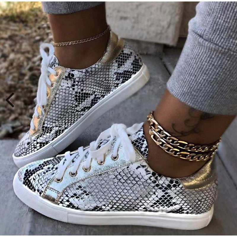 Women Snake Printing PU Leather Vulcanized  Lace up Sneakers