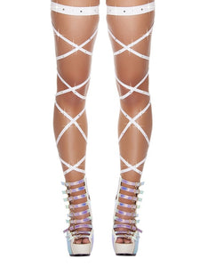 Women Stockings Sexy Womens Bandage Fishnet Stockings Thigh-High Rhinestone Studded Leg Wraps Stocking - Thj Fashion Boutique