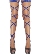 Load image into Gallery viewer, Women Stockings Sexy Womens Bandage Fishnet Stockings Thigh-High Rhinestone Studded Leg Wraps Stocking - Thj Fashion Boutique