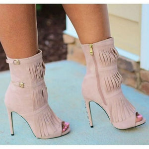 Women's Black Fringe Boots Peep Toe Stiletto Heel Ankle Booties - Thj Fashion Boutique