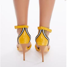 Load image into Gallery viewer, Yellow  Leather Gladiator Sandals Peep Toe Stilettos  T-Strap Buckle Design High Heels Sandals
