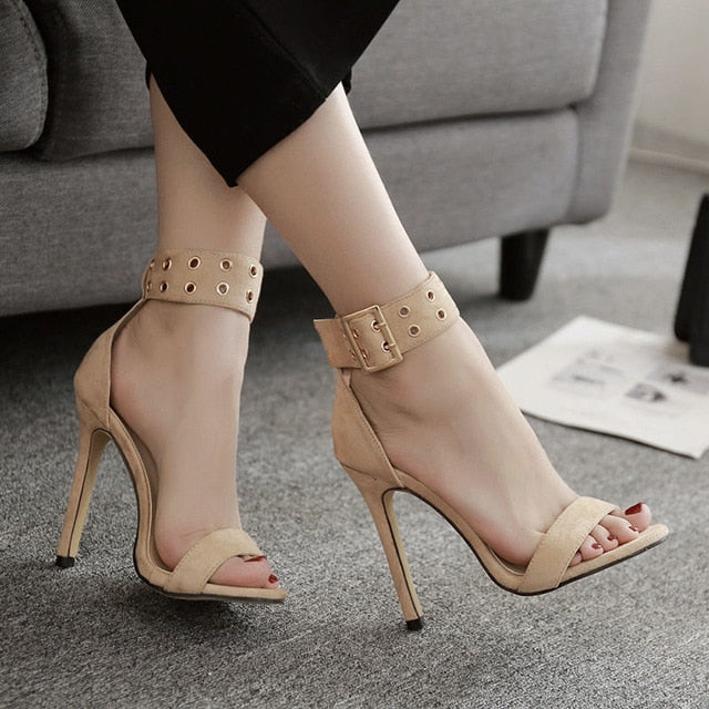 Ankle strap high heels women pumps