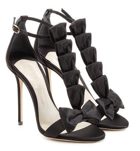 Woman peep toe sandal black bow T strap high heel sandal large size customize make