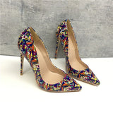 Multi PRINT Patent Leather Poined Toes High Heels Pumps