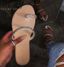 Load image into Gallery viewer, Comfort Rhinestone  diamond slippers crystal flat
