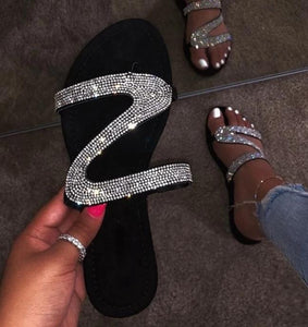 Comfort Rhinestone  diamond slippers crystal flat
