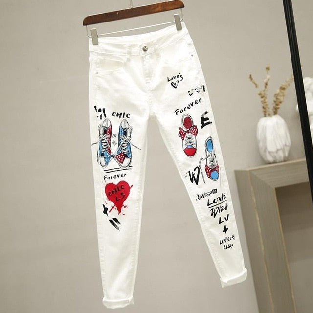 printed pattern cotton White Jeans for Women High Waist Harem Mom Jeans spring 2020 new plus size women jeans denim pants
