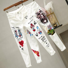 Load image into Gallery viewer, printed pattern cotton White Jeans for Women High Waist Harem Mom Jeans spring 2020 new plus size women jeans denim pants