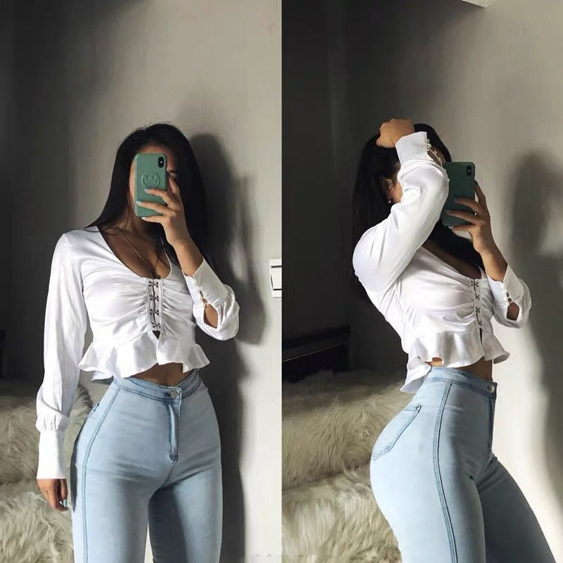 High waisted jeans women spring autumn sexy tight hip lifting Leggings