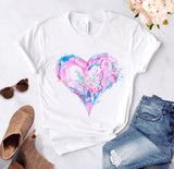 Heart flower print ladies T-shirt ladies casual basis O-collar white shirt