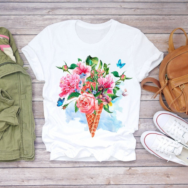 Women  Short Sleeve Floral Flower Fashion Lady T-shirts Top