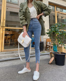 Mozuleva 2020 High Waist Stretch Skinny Women Jeans Pants Split Cuff Female Pencil Streetwear