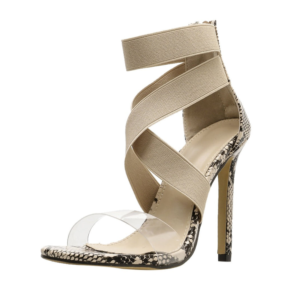 Sexy Snake Skin Pattern Cross Strap Non-slip Pumps Shoes High Heel Sandals - Thj Fashion Boutique