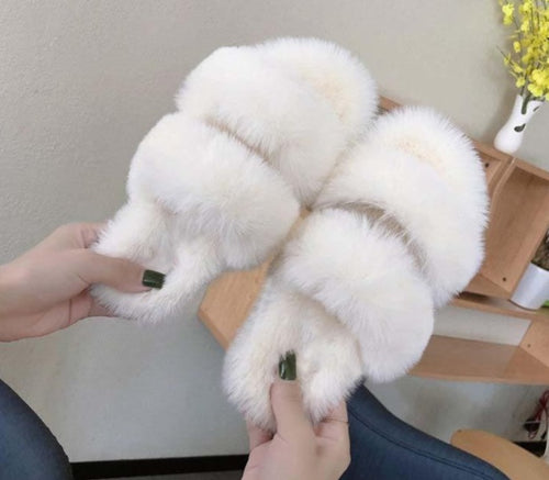 Women White Fox Hair Slippers High Quality