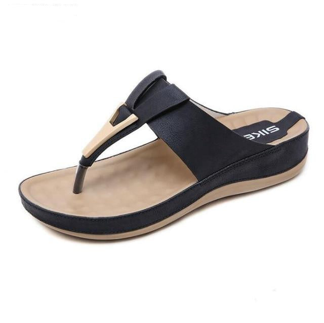 Real leather slides shoes solid thick sole heels  platform flip flops - Thj Fashion Boutique