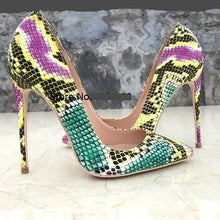 Load image into Gallery viewer, Multi Color Snake Print Pointed Toe Patent Leather High Heels Pumps