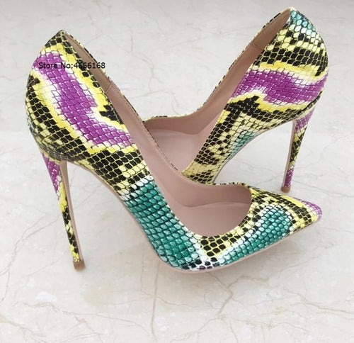 Multi Color Snake Print Pointed Toe Patent Leather High Heels Pumps
