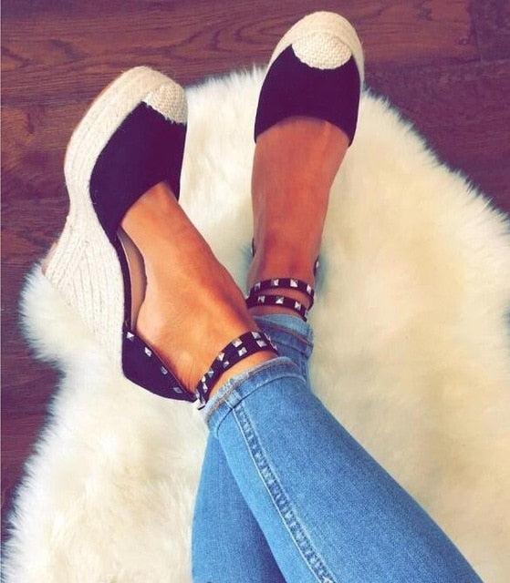 women sexy peep toe cross-tied wedge - Thj Fashion Boutique