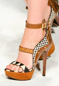 Weave coffee rivets high heels peep toe ankle strap comfortable Platform - Thj Fashion Boutique