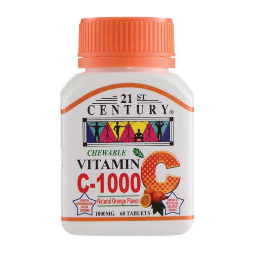 21ST CENTURY VITAMIN C 1000MG ORANGE CHEWABLE 60'S