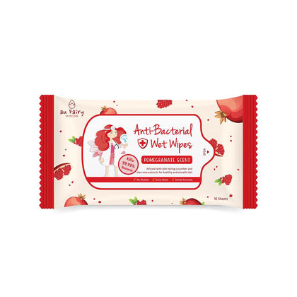 AU FAIRY ANTI-BACTERIAL WET WIPES -POMEGRANATE SCENT 10'S