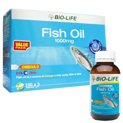 BIO-LIFE FISH OIL VEGECAPS 1000MG 100'SX3(EXP06/21)