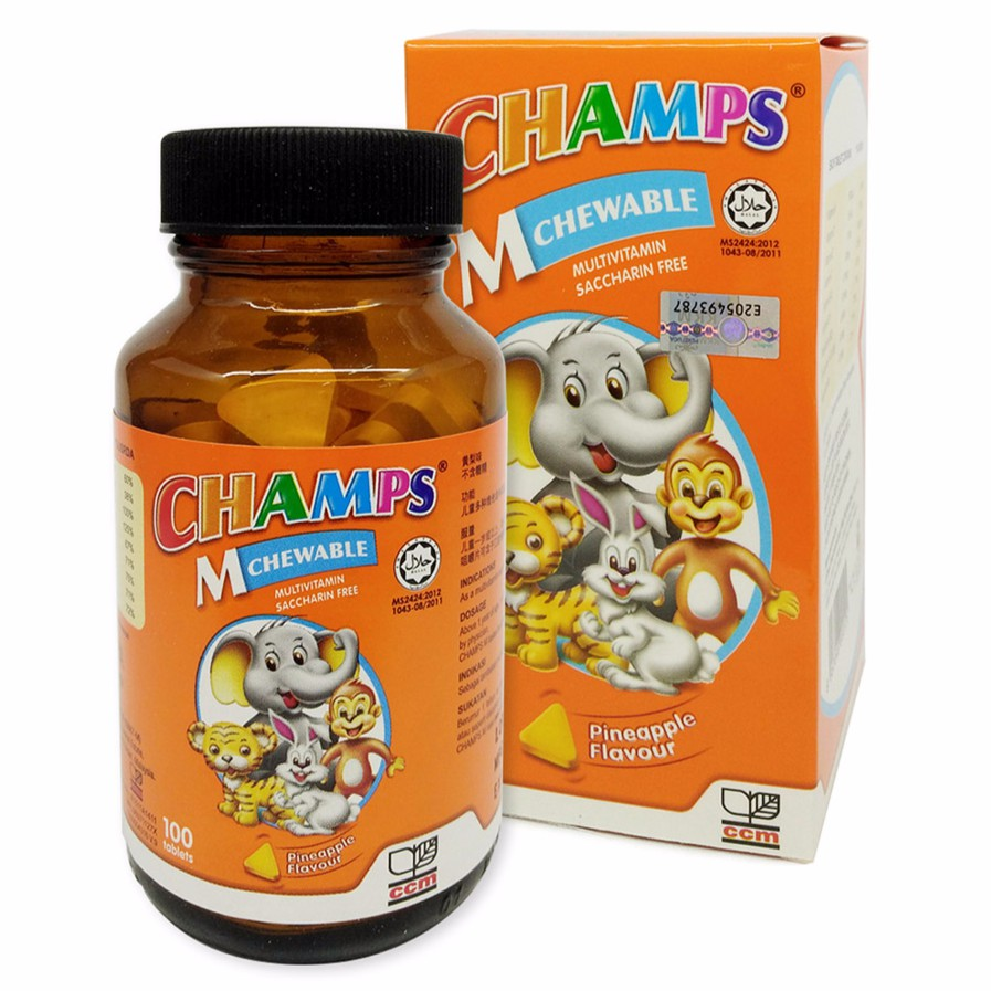 CHAMPS MULTIVITAMIN CHEWABLE PINEAPPLE 100'S