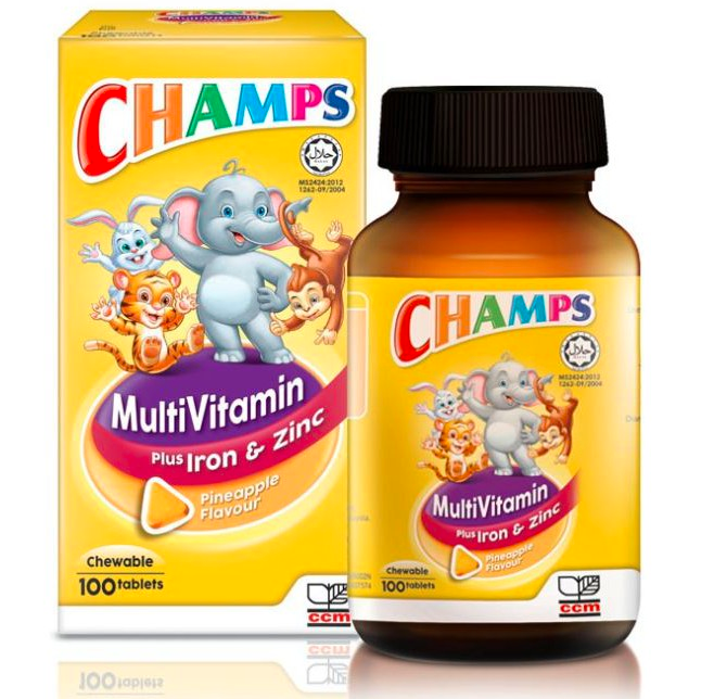 CHAMPS MULTIVITAMIN IRON & ZINC PINEAPPLE 100'S