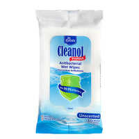 CLEANOL ANTIBACTERIAL WIPES UNSCENTED 10'S