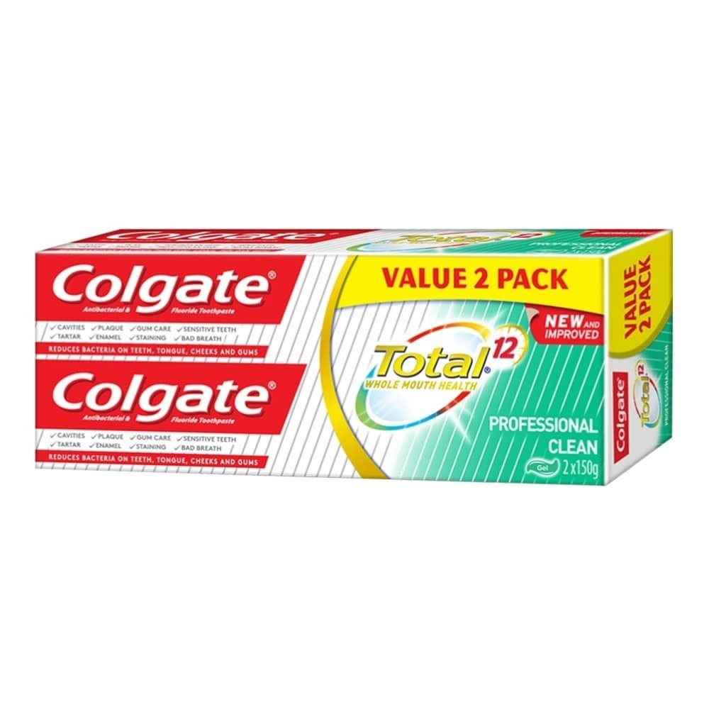COLGATE TOOTHPASTE TOTAL PROFESSIONAL CLEAN GEL TOTAL 150GX2