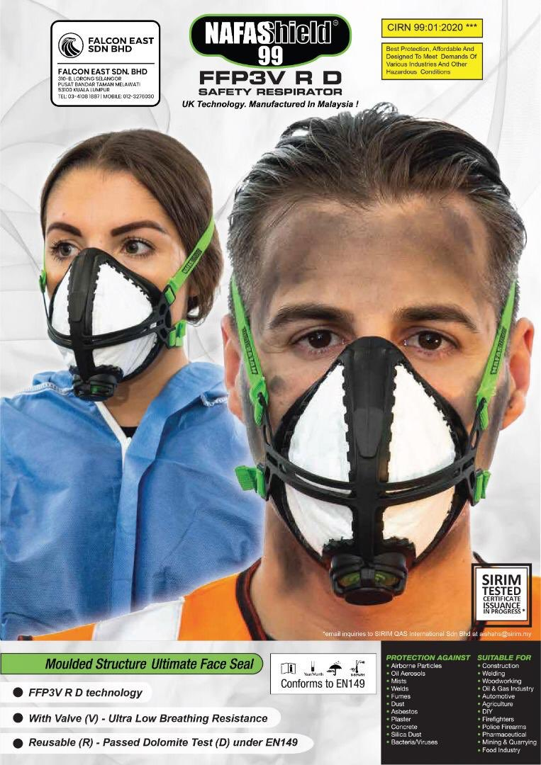 NAFASHIELD 99 SAFETY RESPIRATOR (FACE MASK 1 PCS)