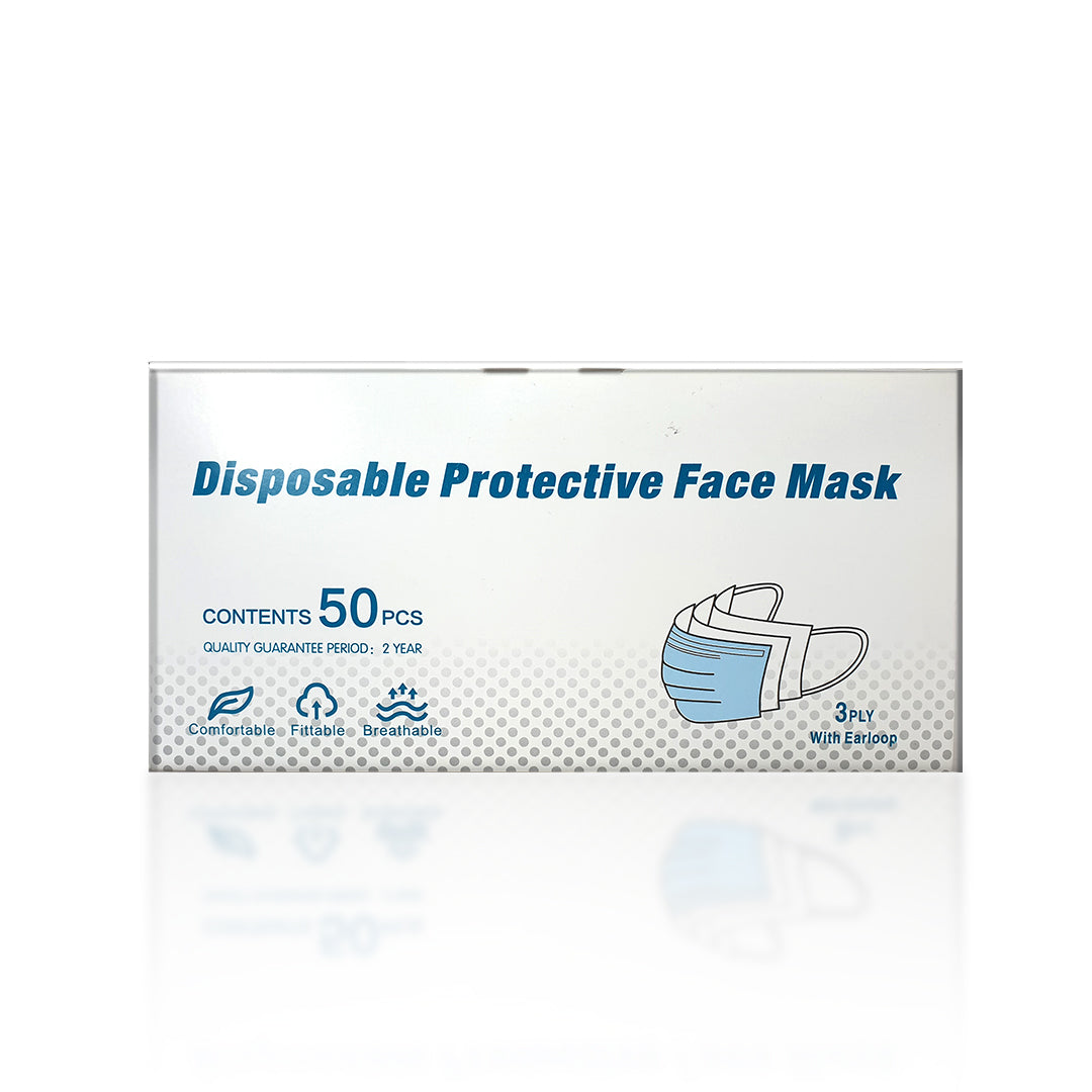 DISPOSABLE PROTECTIVE FACE MASK 3PLY EARLOOP 50's (NEWZY) + FREE 1 BOTTLE ACEMD HAND SANITISER 100ML