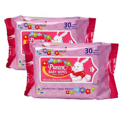 PUREEN BABY WIPES PINK (BWPK2030) 30'SX2