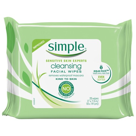 SIMPLE CLEANSING FACIAL WIPES 25'S