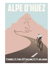 Load image into Gallery viewer, Alpe D'Huez Cycling Art Print