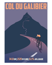 Load image into Gallery viewer, Col Du Galibier Cycling Art Print