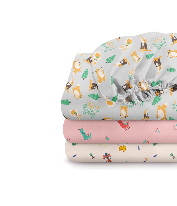 100% Organic Cotton Fitted Crib Sheets Pack of 3 (Full Size)
