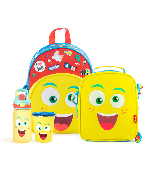 Essential Combo (1 Smash Kids School bag + 1 Insulated Outpack Lunch Bag + 1 Snap Lock Sipper Bottle + 1 Stainless Steel Tumbler with Training Lid)