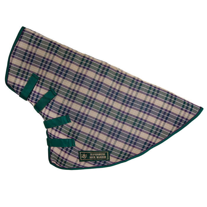 hunter green, tan and plum color plaid neck warmer